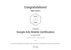 Google Mobile Ads Certificate